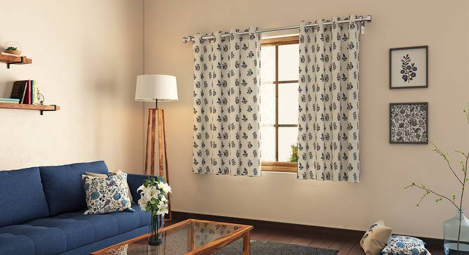 "Calico Window Curtains - Set of 2 (Indigo - Leaves & Blossoms, 54"" x 60"" Curtain Size) by Urban Ladder"