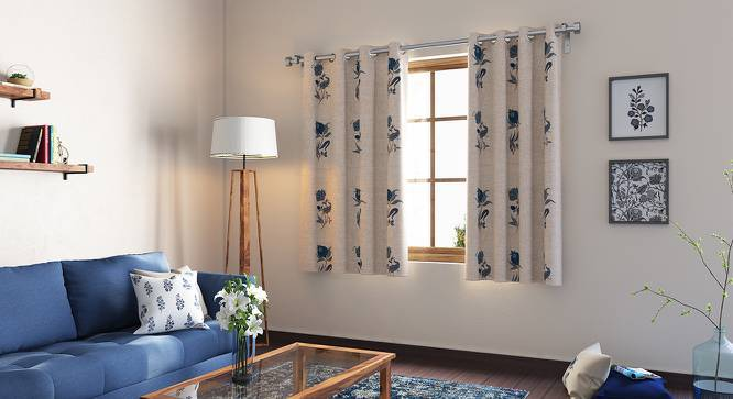 "Calico Window Curtains - Set of 2 (Indigo - Lone Flower, 54"" x 60"" Curtain Size) by Urban Ladder"
