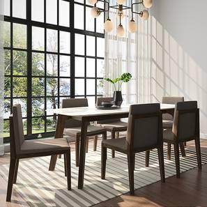 Galatea Marble 6 Seater Dining Set (American Walnut Finish) by Urban Ladder