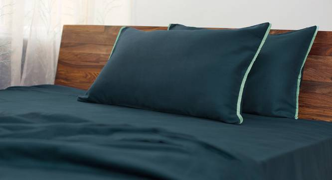 Serena 300 TC Sateen Bedsheet Set (Double Size,  Solid Midnight Blue) by Urban Ladder