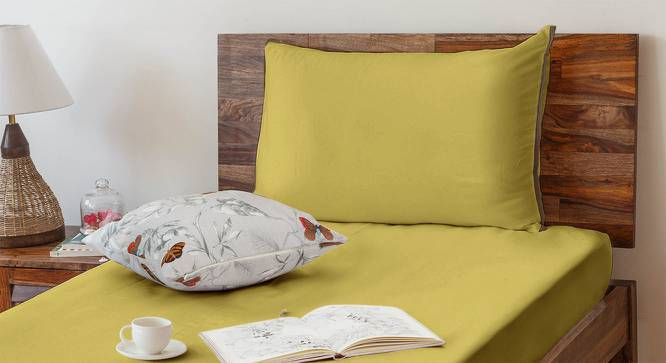 Serena 300 TC Sateen Bedsheet Set (Single Size, Solid Antique Moss) by Urban Ladder