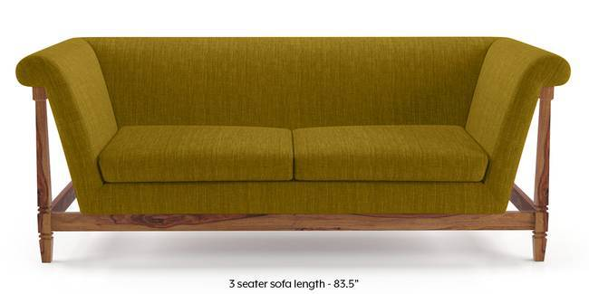 Malabar Wooden Sofa (Olive Green) (3-seater Custom Set - Sofas, None Standard Set - Sofas, Olive, Fabric Sofa Material, Regular Sofa Size, Soft Cushion Type, Regular Sofa Type)