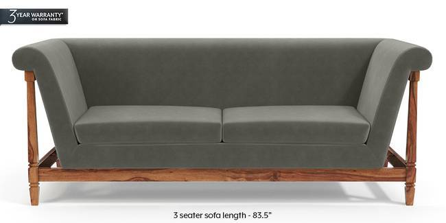 Malabar Wooden Sofa (Ash Grey Velvet) (1-seater Custom Set - Sofas, None Standard Set - Sofas, Fabric Sofa Material, Regular Sofa Size, Soft Cushion Type, Regular Sofa Type, Ash Grey Velvet)