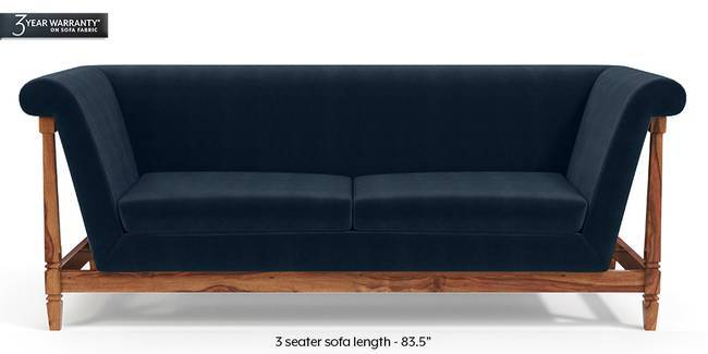 Malabar Wooden Sofa (Sea Port Blue Velvet) (3-seater Custom Set - Sofas, None Standard Set - Sofas, Fabric Sofa Material, Regular Sofa Size, Soft Cushion Type, Regular Sofa Type, Sea Port Blue Velvet)