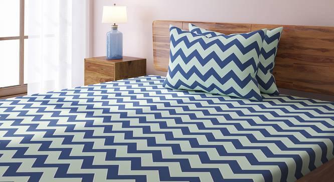 Chevron Bedsheet Set (Blue, King Size) by Urban Ladder