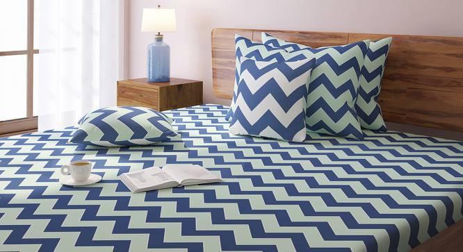 Chevron Bedsheet Set (Blue, Double Size) by Urban Ladder