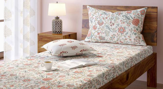 Calico Bedsheet Set (Single Size, Peach Pattern) by Urban Ladder