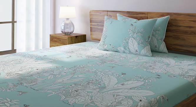 Secret Garden Bedsheet Set (King Size, Contour Blue) by Urban Ladder