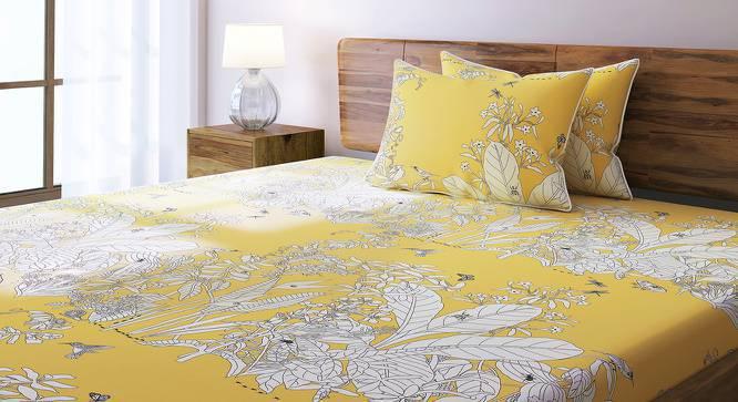 Secret Garden Bedsheet Set (Double Size, Contour Yellow) by Urban Ladder