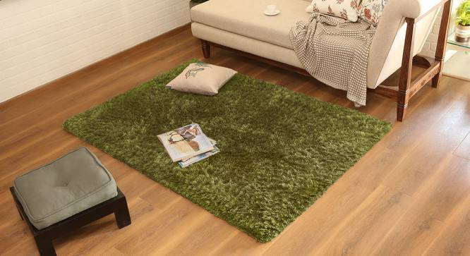 """Linton Shaggy Rug (Olive Green, 96"""" x 60"""" Carpet Size) by Urban Ladder"""