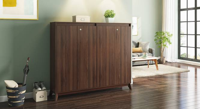 Webster Shoe Cabinet (Walnut Finish, 48 Pair Capacity) by Urban Ladder