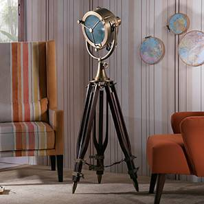 Missouri Tripod Spotlight (Natural Base Finish, Brass Shade Color, Barrel Shade Shape) by Urban Ladder