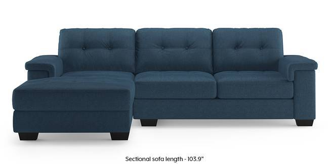 Turin Sectional Sofa (Blue) (Blue, Right Aligned 3-seater Custom Set - Sofas, None Standard Set - Sofas, Fabric Sofa Material, Regular Sofa Size, Sectional Sofa Type)