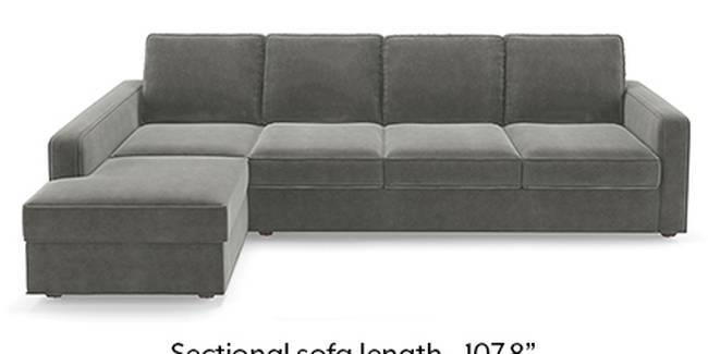 Apollo Sofa Set (Fabric Sofa Material, Regular Sofa Size, Soft Cushion Type, Sectional Sofa Type, Sectional Master Sofa Component, Ash Grey Velvet, Regular Back Type, Regular Back Height)