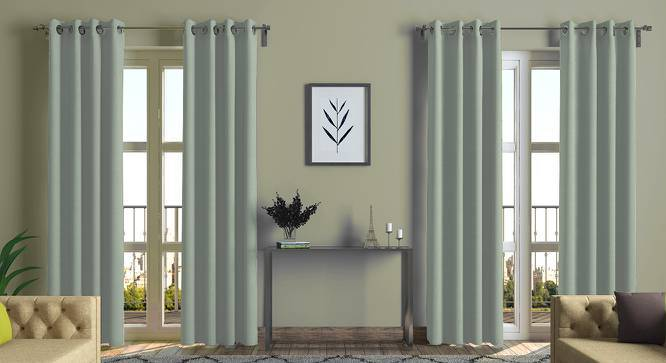 "Ethos Door Curtains - Set Of 2 (52""x84"" Curtain Size, Eucalyptus Green) by Urban Ladder"