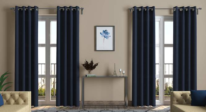 "Ethos Door Curtains - Set Of 2 (52""x108"" Curtain Size, Midnight Blue) by Urban Ladder"