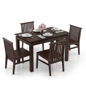Diner - Angus 4 Seater Dining Table Set (Dark Walnut Finish) by Urban Ladder