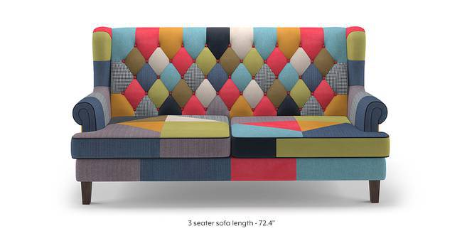 Minnelli Sofa (Retro Patchwork) (3-seater Custom Set - Sofas, None Standard Set - Sofas, Fabric Sofa Material, Regular Sofa Size, Regular Sofa Type, Retro Patchwork)