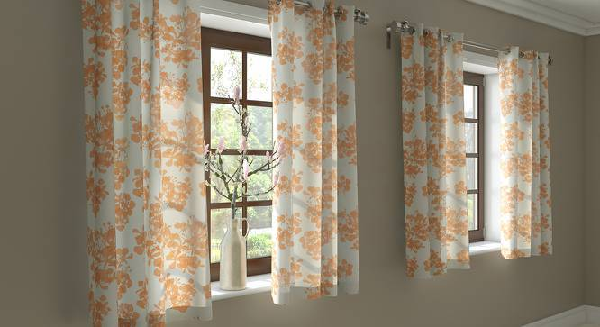 "Gulmohar Window Curtains - Set Of 2 (Peach, 54"" x 60"" Curtain Size, Floral Pattern) by Urban Ladder"