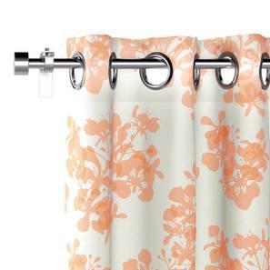 "Gulmohar Door Curtains - Set Of 2 (Peach, 54"" x 108"" Curtain Size, Floral Pattern) by Urban Ladder"