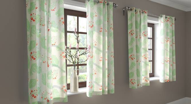 "Gulmohar Window Curtains - Set Of 2 (Multi Colour, 54"" x 60"" Curtain Size, Floret Pattern) by Urban Ladder"