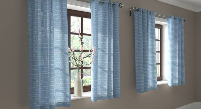 """Overlay Window Curtains - Set Of 2 (Blue, 54"""" x 60"""" Curtain Size) by Urban Ladder"""