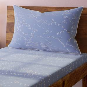Skyscape Bedsheet Set (Blue, Single Size, Flock Pattern) by Urban Ladder