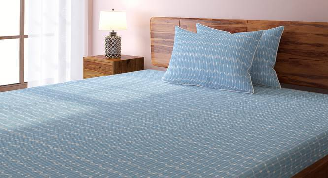 Overlay Bedsheet Set (Blue, Double Size, Akimbo Pattern) by Urban Ladder