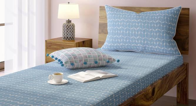 Overlay Bedsheet Set (Blue, Single Size, Akimbo Pattern) by Urban Ladder