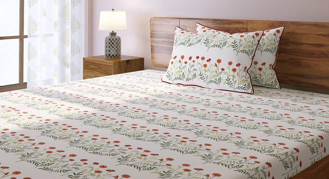 Marigold Bedsheet Set (Double Size, Multi Colour, Linea Pattern) by Urban Ladder