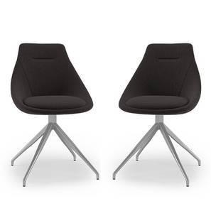 Doris Dining Chairs - Set Of 2 (Dark Grey, Fabric Material) by Urban Ladder