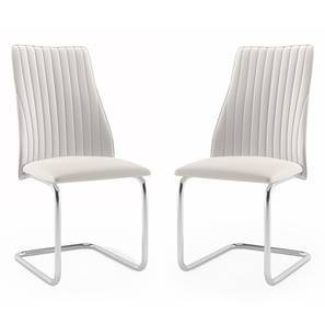 Ingrid Dining Chairs - Set Of 2 (White, Leatherette Material) by Urban Ladder