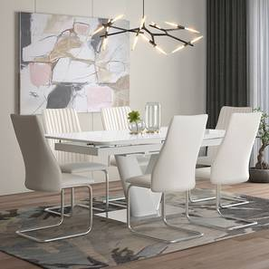Caribu 6 to 8 Extendable - Ingrid (Leatherette) 6 Seater Dining Table Set (White) by Urban Ladder