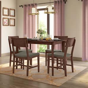 Dexter 4 Seater Dining Table Set (Grey, Dark Walnut Finish) By Urban Ladder