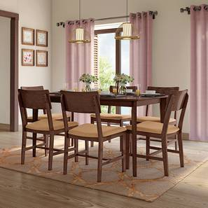 Dexter 6 Seater Dining Table Set (Brown, Dark Walnut Finish) by Urban Ladder