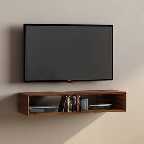 Sawyer Wall Mounted TV Unit (Teak Finish, Without Drawer Configuration) by Urban Ladder