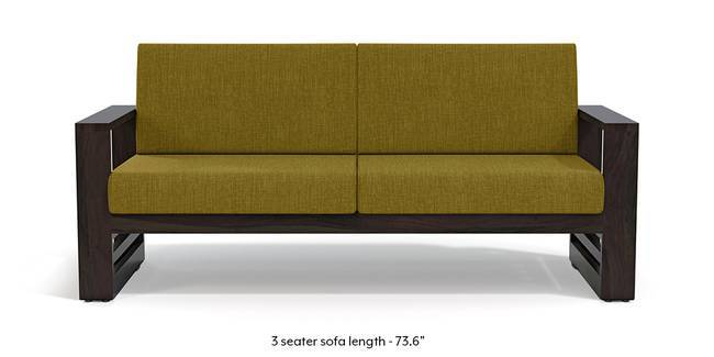 Parsons Wooden Sofa - American Walnut Finish (Olive Green) (1-seater Custom Set - Sofas, None Standard Set - Sofas, American Walnut Finish, Olive Green, Fabric Sofa Material, Regular Sofa Size, Regular Sofa Type)
