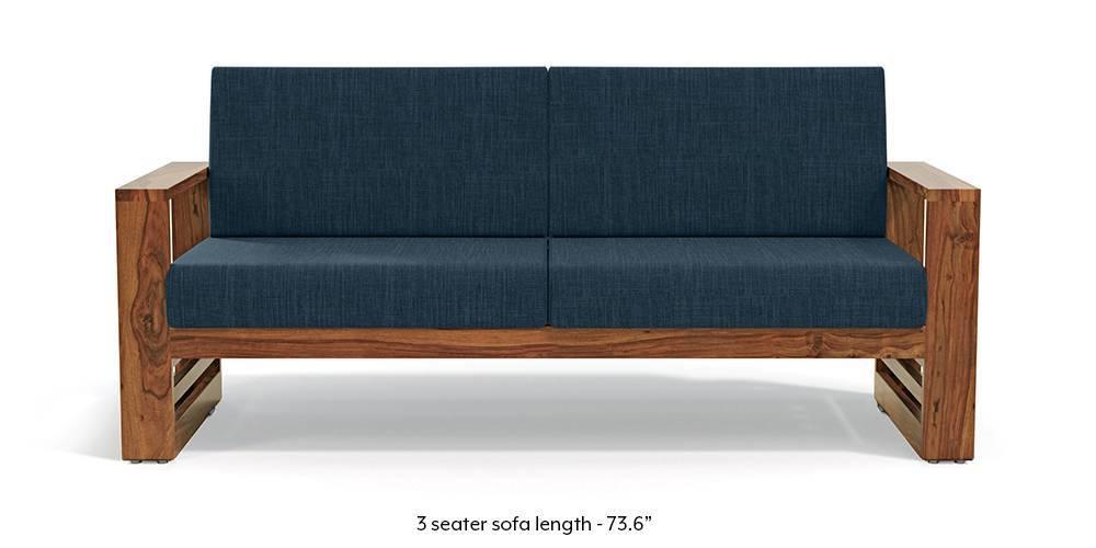 Parsons Wooden Sofa - Teak Finish (Indigo Blue) - Urban Ladder