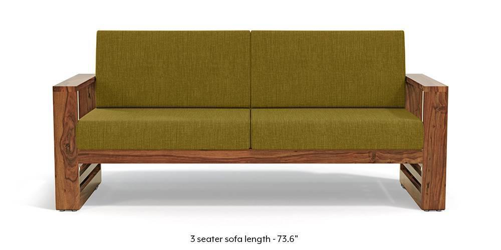 Parsons Wooden Sofa Teak Finish Olive Green Urban Ladder