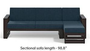 Parsons Wooden Sectional Sofa - American Walnut Finish (Indigo Blue)