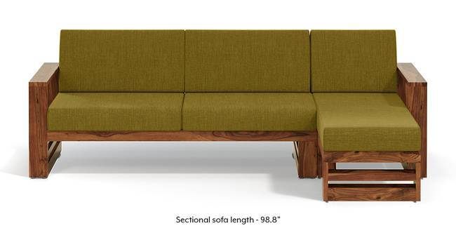 Parsons Wooden Sectional Sofa - Teak Finish (Olive Green) (None Standard Set - Sofas, Olive Green, Fabric Sofa Material, Regular Sofa Size, Sectional Sofa Type, Left Aligned 3 seater + Chaise Custom Set - Sofas)