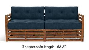 Raymond Low Wooden Sofa - Teak Finish (Indigo Blue)