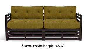 Raymond Low Wooden Sofa - American Walnut Finish (Olive Green)
