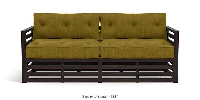 Raymond Wooden Sofa - American Walnut Finish (Olive Green) (3-seater Custom Set - Sofas, None Standard Set - Sofas, American Walnut Finish, Olive Green, Fabric Sofa Material, Regular Sofa Size, Regular Sofa Type)