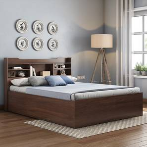 Sandon Storage Bed with Essential Foam Mattress (Walnut Finish, King Bed Size) by Urban Ladder