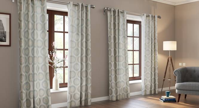 "Heligan Jacquard Door Curtains (Set of 2) (Multi Colour, 54""x84"" Curtain Size) by Urban Ladder"