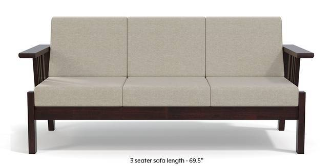 Glen Wooden Sofa (Beige) (3-seater Custom Set - Sofas, None Standard Set - Sofas, Beige, Dark Walnut Finish, Fabric Sofa Material, Regular Sofa Size, Regular Sofa Type)