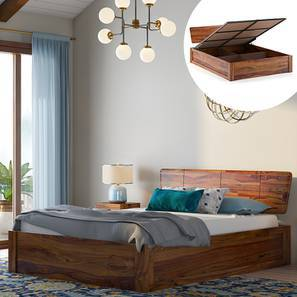 Marieta Hydraulic bed (Teak Finish, King Bed Size) by Urban Ladder