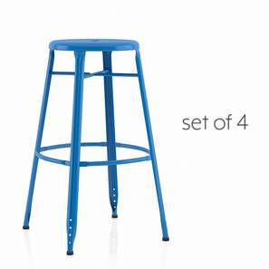 Ford Metal Bar Stool - Set Of 4 (Blue) by Urban Ladder