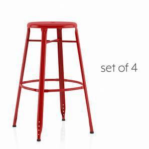 Ford Metal Bar Stool - Set Of 4 (Red) by Urban Ladder